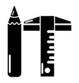 ruler pencil icon simple black style vector image