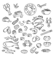 Seafood and delicatessen sketched icons vector image vector image