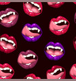 seamless pattern with lips and vampire teeth vector image vector image