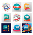 Set of Happy New Year 2016 flat labels and stamps vector image vector image