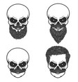 set of skull with hairstyle beardmoustache design vector image vector image