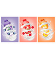 set of yogurts with berries and fruit falling vector image vector image