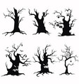 set tree silhouettes for halloween a vector image vector image
