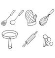 Silhouettes of kitchen utensils vector image vector image