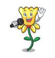 singing daffodil flower mascot cartoon vector image vector image