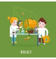 Smart Kids Boy and girl are studing a biology vector image vector image