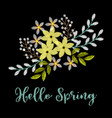 spring greeting card with embroidery arrangement vector image vector image