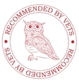 Stamp recommended by vets with owl vector image vector image
