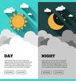 sun moon stars banner day and night time vector image vector image