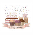 sweet cupcakes birthday cake and gifts vector image vector image