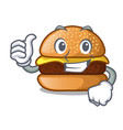 thumbs up cheese tasty burger on character table vector image