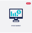 two color stock market icon from business and vector image vector image