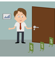 Businessman meets dollars in the office vector image
