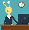 Flat design of office interior Monster at work vector image