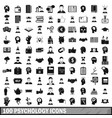 100 psychology icons set simple style vector image vector image