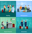 Airport People Flat 2x2 Design Concept vector image vector image