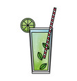 alcohol drink and cocktail glass with lime for vector image