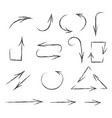 arrows hand drawn sketch pencil drawings vector image
