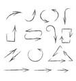 arrows hand drawn sketch pencil drawings vector image vector image