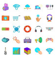 attachment icons set cartoon style vector image vector image