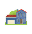blue paint brick house with garage in village vector image