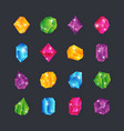 cartoon gems gem stones jewels diamonds topaz vector image