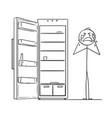 cartoon of depressed man crying near empty fridge vector image vector image