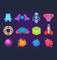 cartoon space icons spaceships alien planets ufo vector image