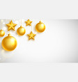 christmas gold balls and stars garland on white vector image vector image