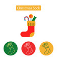 christmas sock icon in line design vector image
