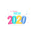 colorful happy new 2020 year greeting card vector image vector image