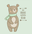 cute bear character nursery posters with tribal vector image