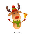 cute cartoon christmas reindeer holds bell happy vector image