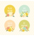 Cute labels with beautiful floral bouquets vector image vector image