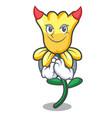 devil daffodil flower mascot cartoon vector image vector image