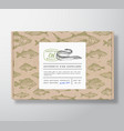 fish pattern realistic cardboard box with banner vector image vector image
