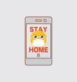 flat design smart phone sign stay home vector image vector image