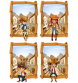 Four scenes of cowboys and cowgirl vector image vector image