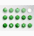 green christmas balls on white isolated set of vector image vector image