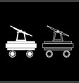 handcar icon set white color flat style simple vector image vector image