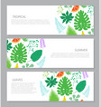 horizontal banner with tropical leaves and fruits vector image vector image