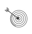line arrow with target board to play vector image