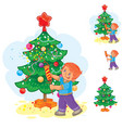 little boy holds a christmas cracker in his hands vector image vector image
