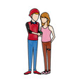Male and female students standing with mp3 vector image