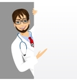 male doctor with a blank presentation board vector image vector image