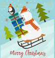 merry christmas card with polar bear vector image vector image