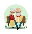 old couple sitting on a bench in the park vector image vector image