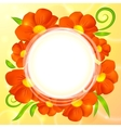Orange realistic flowers round background vector image vector image