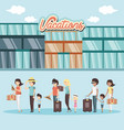 people in the hotel building vacations days vector image vector image