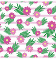 pink cute flowers and leaves on light pink stripes vector image